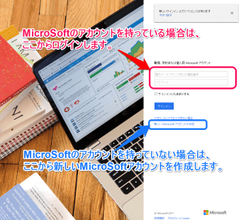 MicorSoft のアカウントと Visual Studio Team Services
